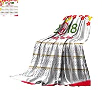 """Lightweight Thermal Blankets Lunar Calendar Chinese Calendar for Happy New Year Year of The Dog Throw Blanket 50""""x30"""""""
