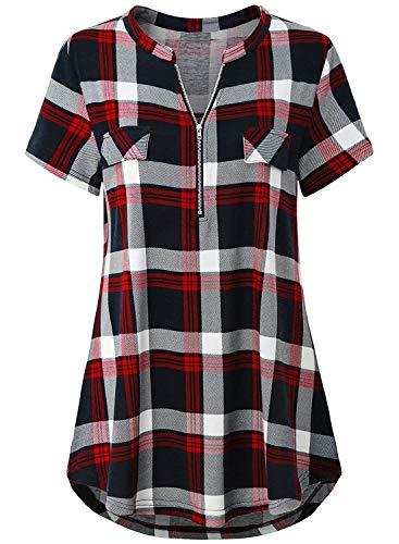 Odosalii Damen V-Ausschnitt Kariert Bluse 3/4 Ärmel Langarm Reißverschluss Tunika Longshirt Hemd Tops T-Shirt, 3XL, B_rot Kariert_kurzarm