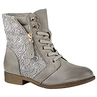 Stylische Damen Stiefeletten Worker Boots Knöchelhohe Stiefel Gesteppt Damen Leder-Optik Zipper Ketten Schuhe 144307 Grau Zipper 38 | Flandell®