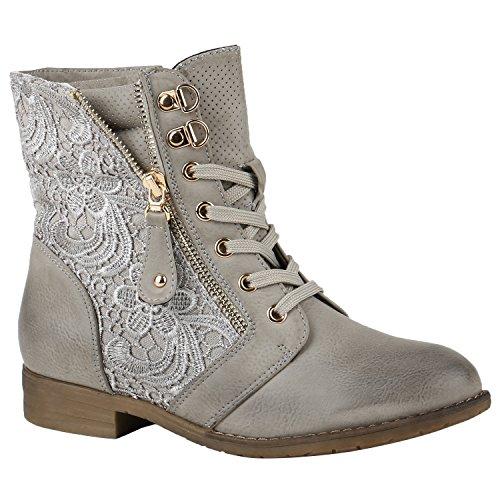 Stylische Damen Stiefeletten Worker Boots Knöchelhohe Stiefel Gesteppt Damen Leder-Optik Zipper Ketten Schuhe 144307 Grau Zipper 40 Flandell