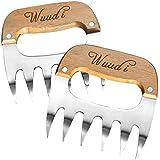 wuudi Meat Claws acier inoxydable viande les griffes de viande Fourchettes avec Manche en Bois Idéal pour pulled Pork, Beef, Chicken, barbecue, BBQ Lot de 2