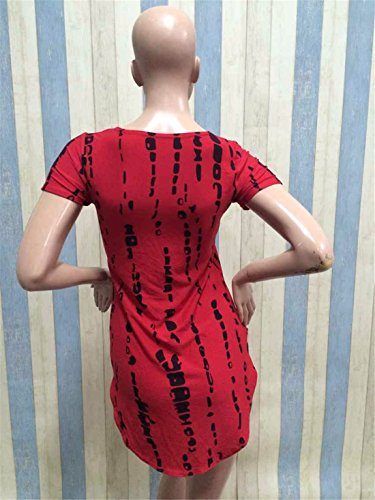 QIYUN.Z Les Femmes Imprimes Rayes a Manches Courtes Ourlet En Forme D'Arc-Clubwear Sexy T-Shirts Robe Rouge