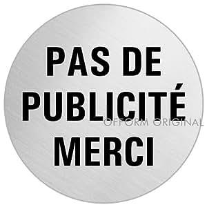 """OFFORM Plaque de Bôite aux Lettres""""Pas de Publicité Merci"""" Ø 75 mm acier inox brossé No.39129"""