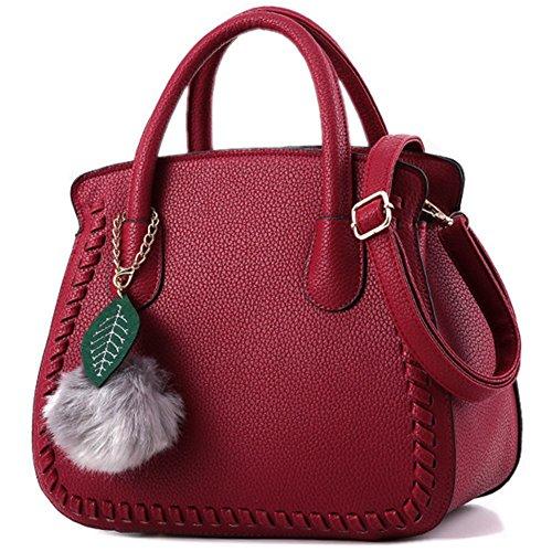 Sac a main Femme Simple Mode Sacs à main en PU Cuir Sac d'épaule Pour Filles Vin rouge
