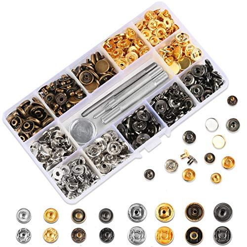 HAUSPROFI 120 Sets Druckknopf Kupfer Druckknöpfe Bronze Kleidung Snaps Taste mit Fixierwerkzeug Kit für Leder Handwerk Jacke Brieftasche Handtasche (12 mm)