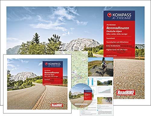 Die höchsten Rennradtouren Deutsche Alpen: mit Tourenbuch, Tourenkarten zum Mitnehmen, Extra-Straßenkarte, DVD mit GPX-Tracks (KOMPASS-Rennradführer, Band 8000) Track Kompass