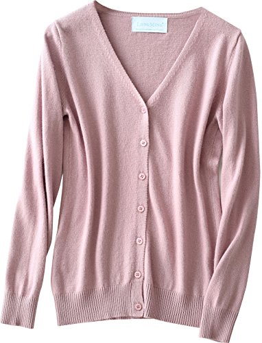 LongMing Damen 100% Kaschmir Strickjacke for Winter Rundhals Langarm Casual V-Ausschnitt Cardigan Swaeter Rosa