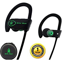 Joyful Heart JH-800 - Auricolari wireless Bluetooth sportivi, 100% impermeabili IPX7, audio di alta qualità con bassi, cancellazione del rumore, design ergonomico, vestibilità sicura, custodia con cerniera, 7 ore di autonomia, con microfono e tutorial YouTube