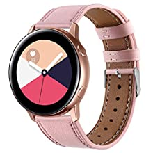 Lenlun Compatible for Galaxy Active 40mm/ Galaxy Watch 42mm Strap, 20mm Soft Leather Replacement Band Watchband Bracelet for Samsung Gear S2, Gear Sport, Garmin Vivoactive 3 Women Men (Pink)