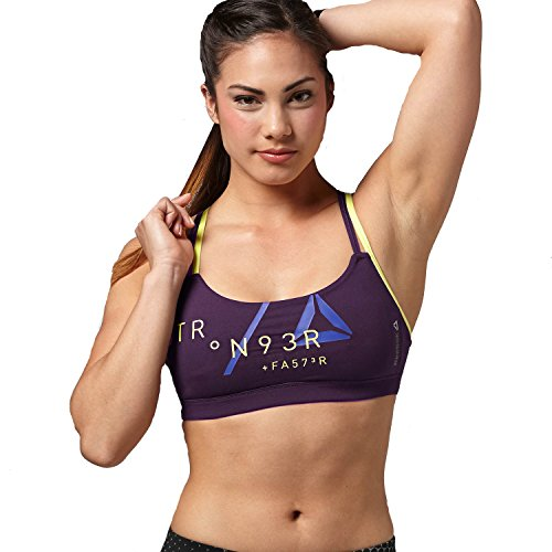 Reebok One da donna Graphic Racerback Reggiseno Sportivo Purple XX-Small