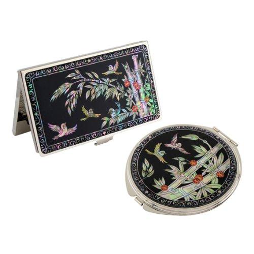 Set Miroir de Poche + Porte cartes de visite Nacre Collection Fleur Corée BAMBOU