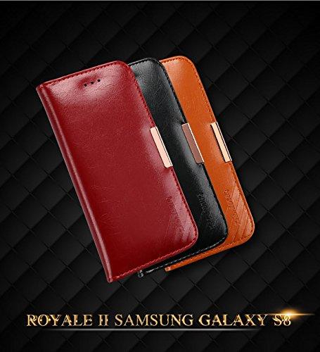 COVO   Samsung Galaxy S8 Funda Funda Piel genuina Billetera Funda para Samsung Galaxy S8 con Stand Funci  n Naranja