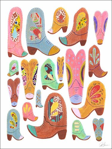 Wheatpaste Art Collective Cowboy Boots by Yellow Button Studio Canvas Wall Art, 18 by 24-Inch