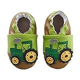 koshine Weiches Leder Krabbelschuhe Baby Schuhe Kinder Lauflernschuhe Hausschuhe 0-3 Jahre (0-6 Monate, Grün Traktor)