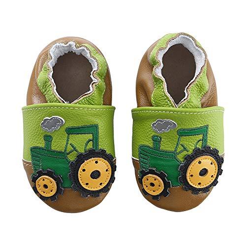 KOSHINE Weiches Leder Krabbelschuhe Baby Schuhe Kinder Lauflernschuhe Hausschuhe 0-3 Jahre (6-12 Monate, Grün Traktor)