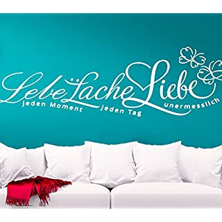Wandora Wandtattoo Schmetterling Lebe Lache Liebe I schwarz (BxH) 160 x 46 cm I Wandaufkleber Wandsticker Wohnzimmer Aufkleber Sticker Wand G043