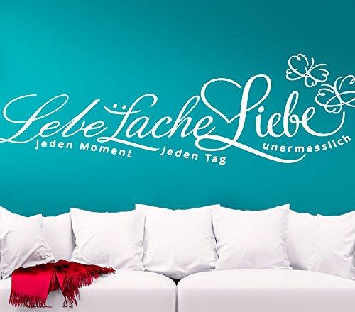 Wandtattoo-Günstig G043 Zitat Lebe... Lache... Liebe... + Schmetterlinge Wandaufkleber Wandsticker weiß (BxH) 120 x 35 cm
