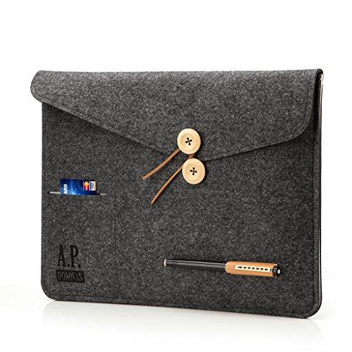 A.P. Donovan - Filz-Tasche Filzhülle - Schutzhülle Notebook aus Filz - Hülle Tasche aus Stoff Sleeve - Tablet-Tasche - MACBOOK Pro 13 grau