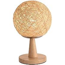 JIAHONG Lámpara moderna de la bola del cáñamo del arte de las vides de madera simple moderna, lámpara trenzada decorativa decorativa de la noche del LED del arte de la cabecera del dormitorio, cubierta esférica de la cortina E27 bulbo ( Size : M )