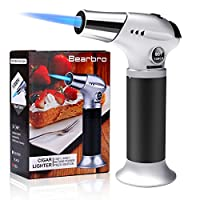 Bearbro Kitchen Blow Torch Lighter, Refillable Cooking Culinary Butane Torch with Safety Lock and Adjustable Flame for DIY Creme Brulee, Pastries, Desserts, Brazing, Soldering, Camping