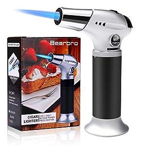 Bearbro Flambierbrenner Küche Bunsenbrenner Butan Gasbrenner für die Küche Home Küche-Schwarz für Creme Brulee,Gebäck, Desserts, Camping