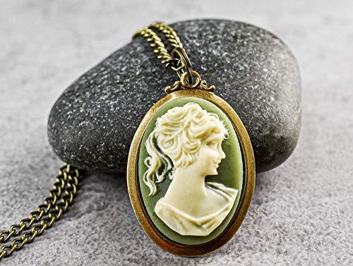 Kamee Barock Lady Bronze Kette -grün-