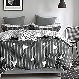 WOLTU BWS03m01, Bettwäsche Set 100% Baumwolle Satin kuschelig & warm, Bettgarnitur Bettbezug 135x200 cm + Kissenbezug 80x80 cm, zweiseitig mit gestreift Muster(Anthrazit)