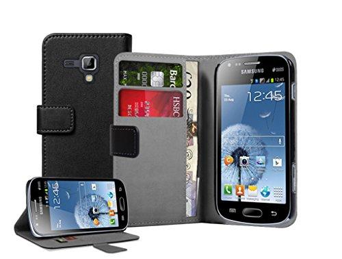 Membrane - Negro Cartera Funda Carcasa para Samsung Galaxy Trend Plus (GT-S7580) - Wallet Flip Case Cover