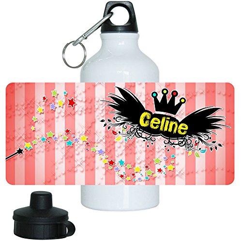 Eurofoto Trinkflasche mit Namen Celine und schönem Zauber-Motiv für Mädchen, aus Aluminium