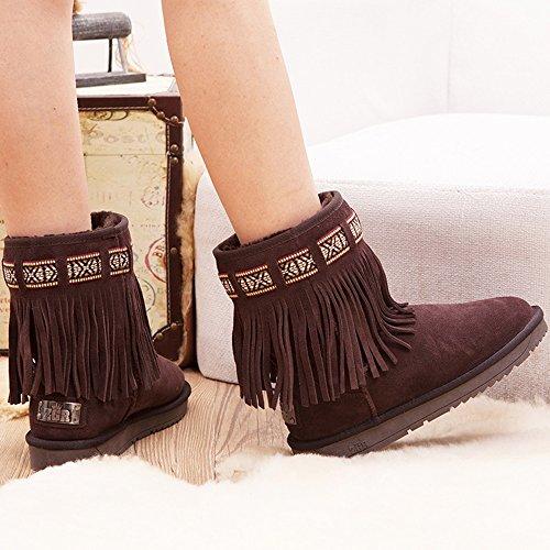 Botas Fufu Para Mujer Botas De Nieve Con Cordones Comfort Casual Color De Café Con Borla De Tacón Plano (color: A, Tamaño: Eu38 / Uk5.5 / Cn38) B