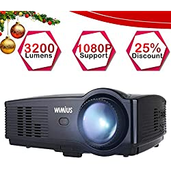 Proyector Full HD, Proyectores LED 3200 Lúmenes 1080P Proyector Video Portátil WiMiUS T4 Projector LCD Home Cinema Apoyo 1920*1080 HDMI VGA USB SD para PC Portátil TV Juego Hogar PS3 XBO X360-Negro