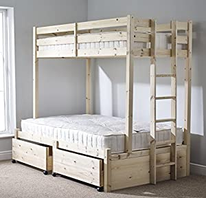 Pine Triple sleeper bunk bed with Storage drawer- 4ft 6 double Three sleeper bunkbed