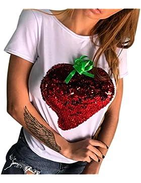 [Sponsorizzato]T shirt Elegante Donna Rcool paillettes stampa Camicia Manica corta Estate casuale sportivo gilet top