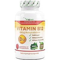 Vitamin B12 1000 µg, 240 Tabletten, aktives Vitamin B12 als Methylcobalamin, Lutschtabletten mit Himbeere Geschmack, vegan, Methyl, hochdosiert mit 1000 mcg, Vit4ever