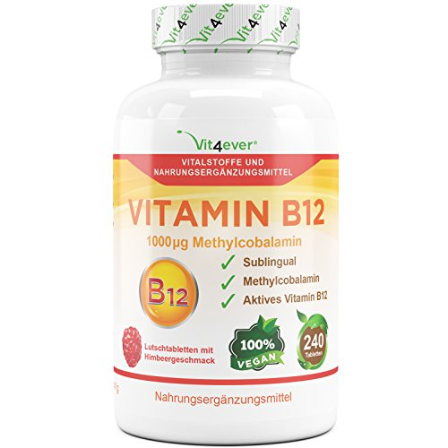 B12-vitamine Aus Der Natur (Vitamin B12 1000 µg, 240 Tabletten, aktives Vitamin B12 als Methylcobalamin, Lutschtabletten mit Himbeere Geschmack, vegan, Methyl, hochdosiert mit 1000 mcg, Vit4ever)
