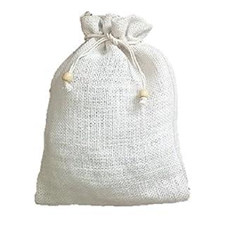Packung-mit-10-x-wei-kordelzug-Hessisches-KaffeeTeeWeihnachten-Sack-20cm-x-27cm-Code-28WH-Simpel-stilvoll-jute-tasche-mit-holz-perle-on-Kordelzug-wei-Jute-farbe