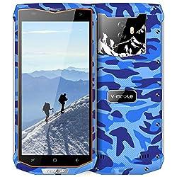 Telephone Portable Incassable Smartphone Étanche Antichoc Résistant V66 v mobile Smartphone 3G+ Android 7 Écran 5.5 3Go+32Go 6500mAh Batterie Téléphone Débloqué Double SIM Caméras 8MP GPS