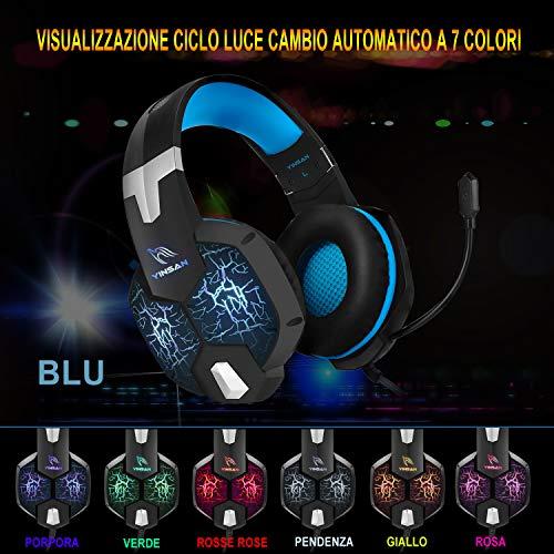 Cuffie Gaming per PS4, YINSAN Cuffie da Gioco Over Ear con Microfono, 7 Luci RGB LED, Audio Cavo 3.5mm e Controllo del Volume, Gaming Headset per Xbox One, Nintendo Switch, PC, Mac, Laptop, Smartphone
