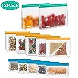 Newdora Sandwich Tasche Lebensmittel Beutel Kühltaschen Mittagessen Wiederverwendbare Aufbewahrungsbeutel PEVA-Druckverschlussbeutel ohne BPA 12er-Pack für Reisen und die Organisation zu Hause