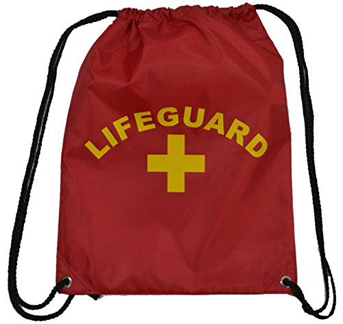 Red Lifeguard Drawstring Bag