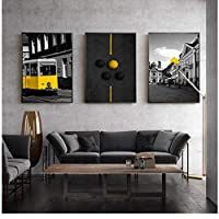 Nordic Style Print City Landscape Wall Art Canvas Painting Black Yellow Train Umbrella Balloon Poster Picture for Living Room 50 * 70cm