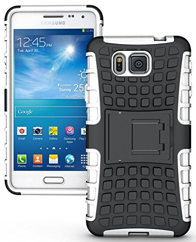 Heartly Flip Kick Stand Spider Hard Dual Rugged Armor Hybrid Bumper Back Case Cover For Samsung Galaxy Alpha 4G SM-G850FQ - Best White  available at amazon for Rs.349