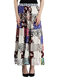Exotic India Long Printed Boho Skirt From Gujarat With Patch Work And Dori On Waist