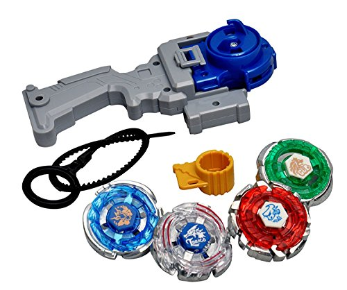 Toykart® 4 in 1 Beyblades Metal Fighter Fury with Metal Fight Ring and Handle Launcher