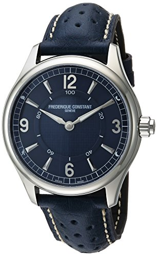 Frederique Constant Hombres Swiss Horological Smart de cuarzo reloj Casual de piel y acero inoxidable, color: azul (modelo: fc-282an5b6)