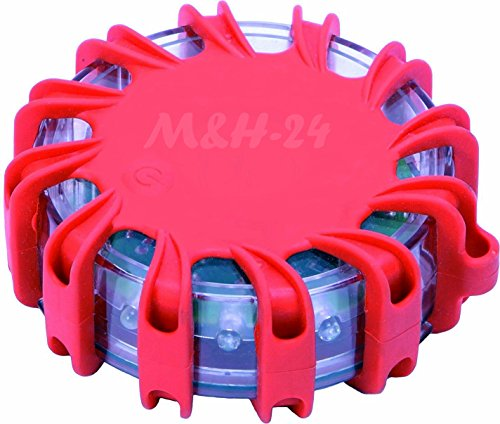 Preisvergleich Produktbild M&H-24 Warnblinkleuchte LED, Warnleuchte Auto ideal als Ergänzung zum Warndreieck mit Magnet und 16 LED, fürs Auto Notfall Pannenhilfe