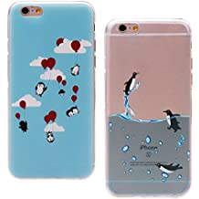 2 Fundas iPhone 6/6s,ZXK Funda del Gel TPU Silicona para iPhone 6s 4.7''x 2 Diseño Pintado Carcasa Cover Funda Suave Delgada Case Semi-Transparente--Pinguino(Azul)
