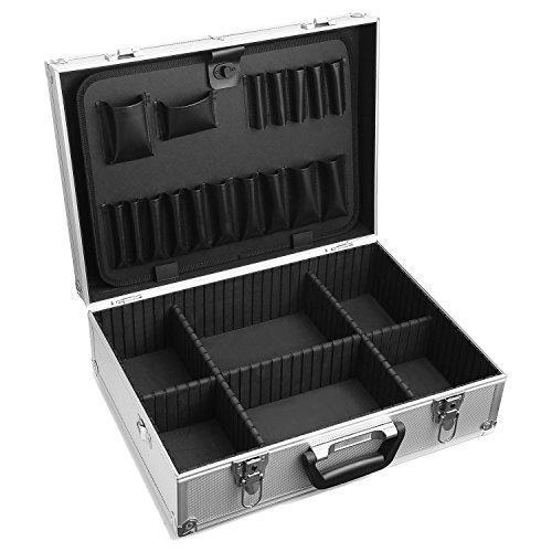 Coorun Werkzeugkoffer Werkzeug Box Haushalts-Werkzeugkoffer Werkzeugkasten Rugged Textured Tragetasche Koffer Lockable Vielseitig und Leicht Silber