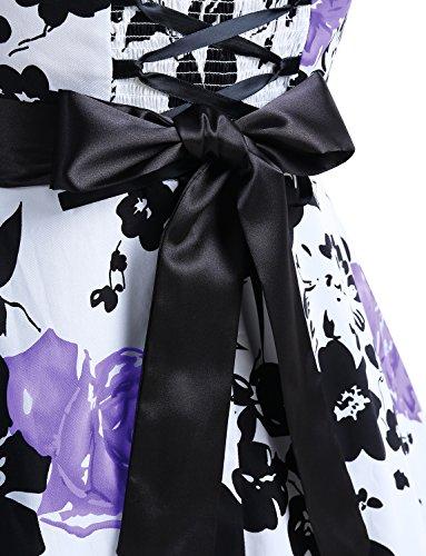 Dressystar Robe de bal Polka Vintage pin-up à 'Audrey Hepburn' 50's 60's Rockabilly Halter,dos nu, à pois Fleur Pourpre