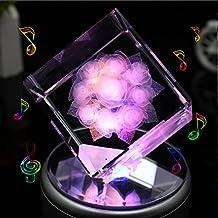 LIWUYOU rosas en 3d de cristal cuadrada colorida luz LED giratoria caja de música
